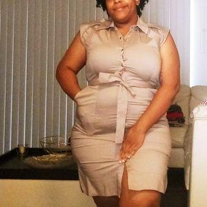 New York & Company Linen Khaki Dress